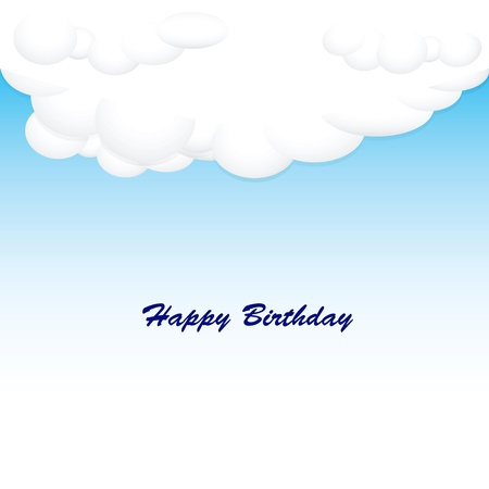 compliments: Greeting Card Happy Birthday with clouds and blue sky. Illustration