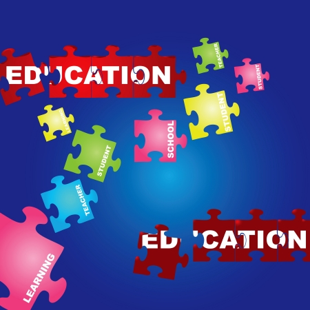 illustration of puzzles with words on the topic of education. Vector