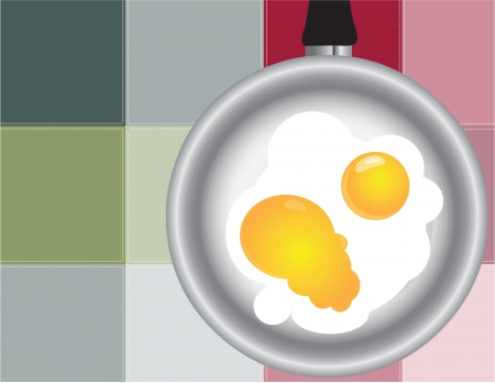 Frying pan with fried eggs on the background of the kitchen towel.