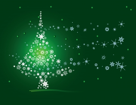christmas greeting: Christmas tree of snowflakes. Postcard. Vector illustration.