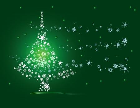 season: Christmas tree of snowflakes. Postcard. Vector illustration.