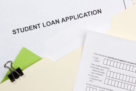 Directly above photograph of a student loan application. Stock Photo - 14289485