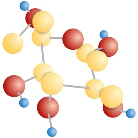 Molecular compound. The chemical formula of glucose. Vector illustration. Ilustração