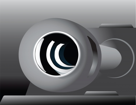 Muzzle of the barrel of the tank. Vector illustration.