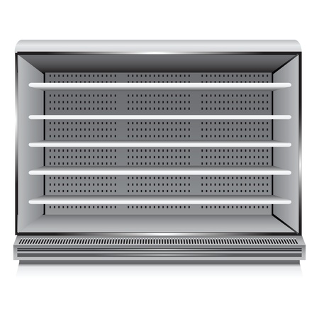 nevera: Moderno refrigerador comercial para las organizaciones de comercio. Ilustraci�n del vector.