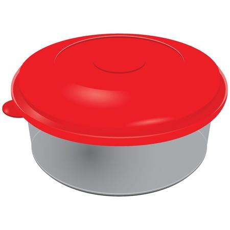 food container: Recipiente de comida de pl�stico con una tapa roja. Ilustraci�n del vector.