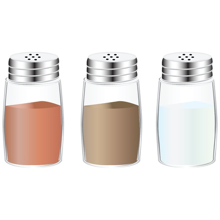 Spices in glass containers with holes in the lid. Ilustração