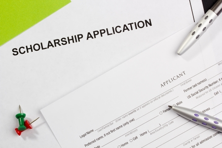 Directly above photograph of a scholarship application. photo