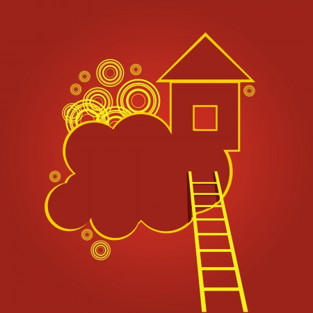 Creative. The stairs to the house on a cloud. Illustration