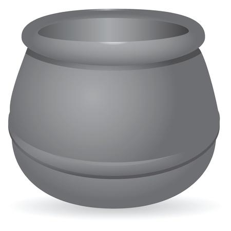 gusseisen: Antique gusseisernen Topf zum Kochen. Illustration
