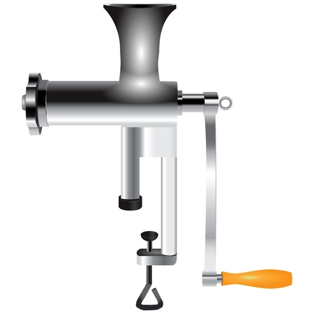 mincer: Hand equipment for grinding meat at home.  Illustration