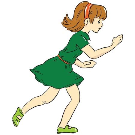 Running girl. Game. Dress. Childhood.