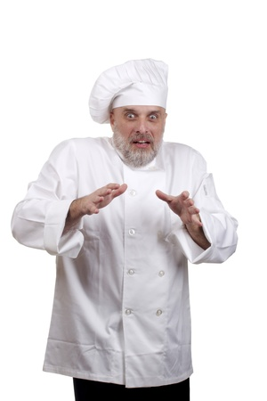Portrait of a caucasian chef in his uniform on a white background. Stock Photo - 14392218