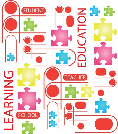 illustration of puzzles with words on the topic of education.