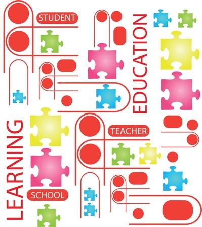 Ilustración de rompecabezas con las palabras sobre el tema de la educación. Foto de archivo - 14456256