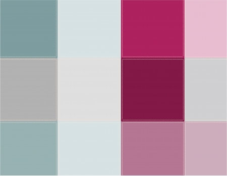 scenical: Decorative background. Colored squares are stitched with thread.