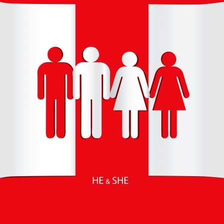 he she: Creative on the topic of relationships. He and she. Vector illustration.