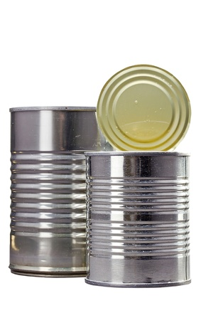 Close-up photograph of two metal cans on a white background. Stock Photo - 14456272