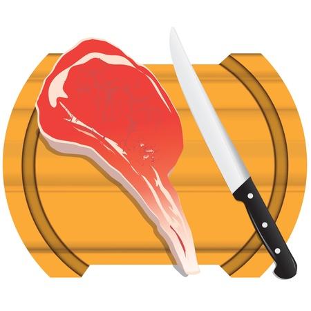 schmalz: Ein frisches St�ck Fleisch auf einem K�chentisch Schneidebrett.