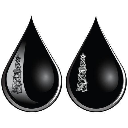 petroleum: La reflexi�n en una gota de aceite de la instalaci�n de perforaci�n.