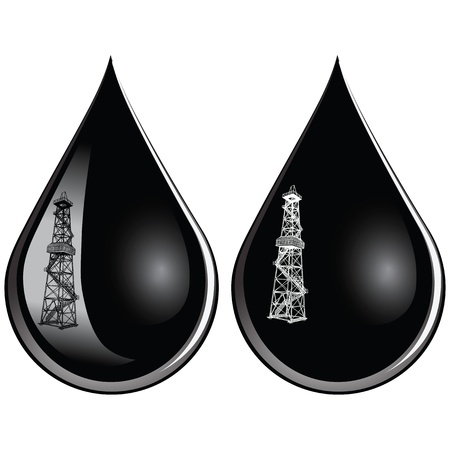 Reflection in a drop of oil drill installation. Stock Vector - 14456289