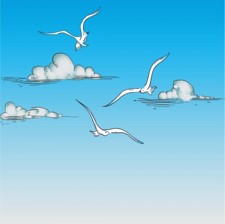 Seagulls flying in the clouds.