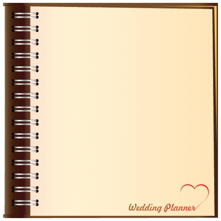 old notebook: Background to design a wedding ceremony. Illustration