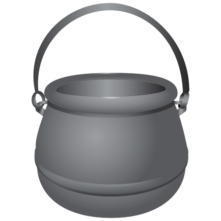 kettle: Boiler water with the opportunity to hang it over an open fire. Illustration