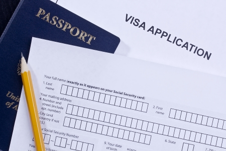 schengen: Directly above photograph of an application for a visa. Stock Photo