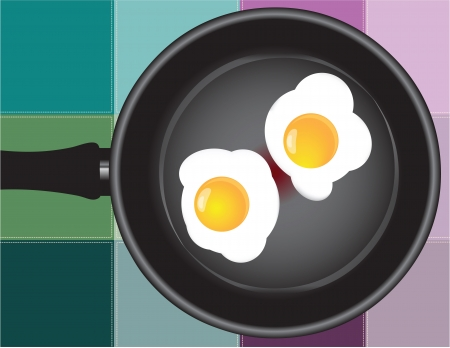 dripping pan: Frying pan with fried eggs on the background of the kitchen towel. Vector illustration. Illustration