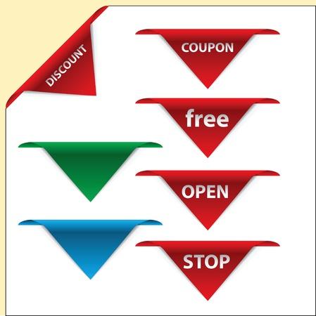 The set design of business information in the form corner label. Vector illustration. Stock Vector - 14519113
