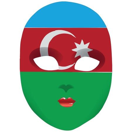 statehood: Classic mask with symbols of statehood of Azerbaijan. Vector illustration