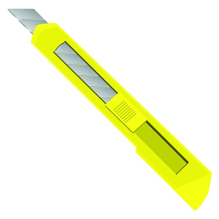 acute: Office paper cutter with a retractable blade. Vector illustration.