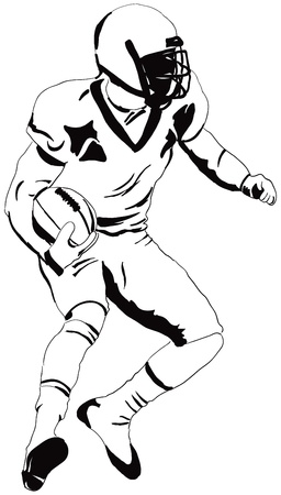 American football player with the ball. Vector illustration. Vector