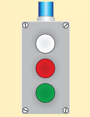 Remote control forklift with three buttons. Vector illustration. Ilustracja