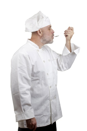 Portrait of a caucasian chef in his uniform on a white background. Stock Photo - 14571142