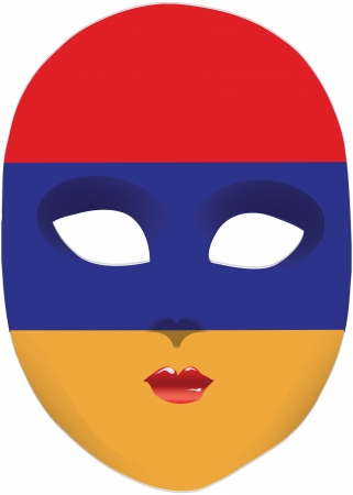 statehood: Classic mask with symbols of statehood of Armenia. Vector illustration