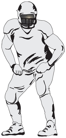 Defensive player in American football. Vector illustration.