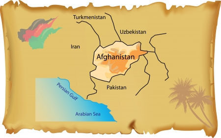 sheepskin: Map of Afghanistan on an old parchment. Vector illustration.