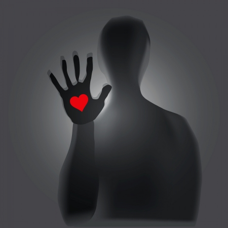 grief: Heart in hand, a mystical figure. Vector illustration.