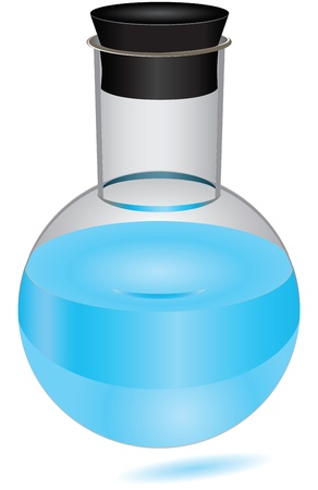 stopper: The round bottom flask with a rubber cap and blue reagent. Vector illustration.