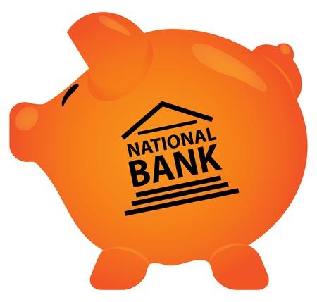 Pink piggy bank in editable vector format