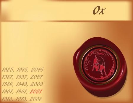 Symbol, the bull on the eastern calendar. Vector illustration.