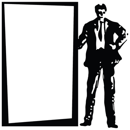 Businessman standing next to the background.