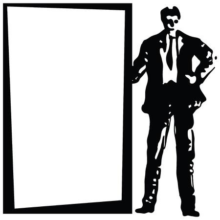 formulation: Businessman standing next to the background.