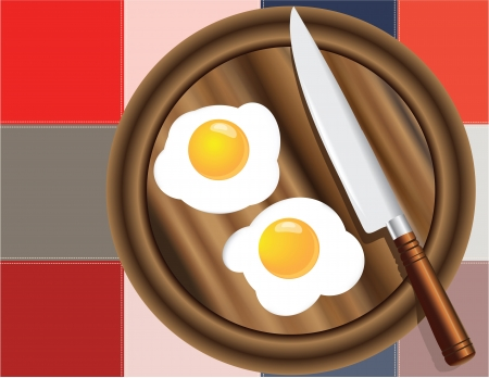 scenical: Fried eggs on the kitchen board with a decorative cloth Illustration