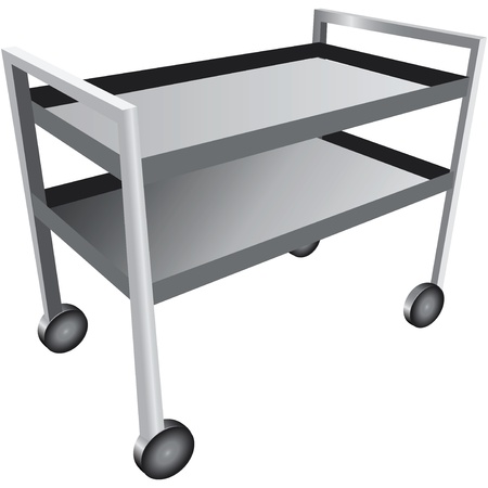Laboratory table on wheels with shelf