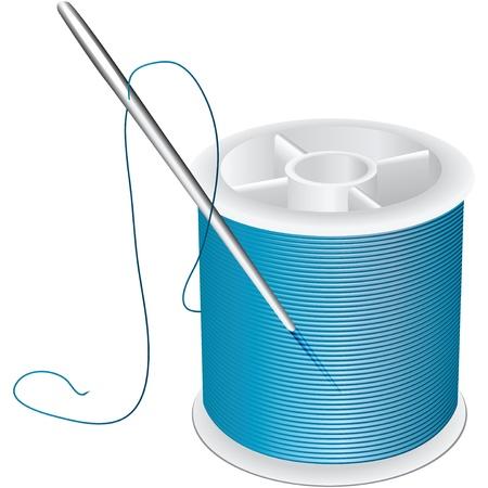 bobina: Carrete de hilo y aguja para coser