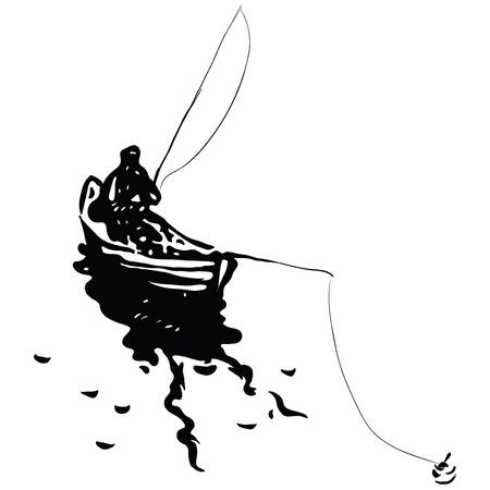 horgász: A halász egy csónakban a horgászbot. Vektoros illusztráció.