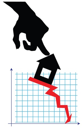 The situation in the real estate market. Vector illustration.